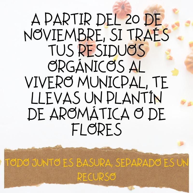 TRAÉ RESIDUOS ORGÁNICOS Y LLEVATE PLANTINES...